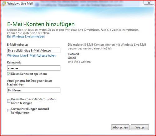 Livemail Schritt 1