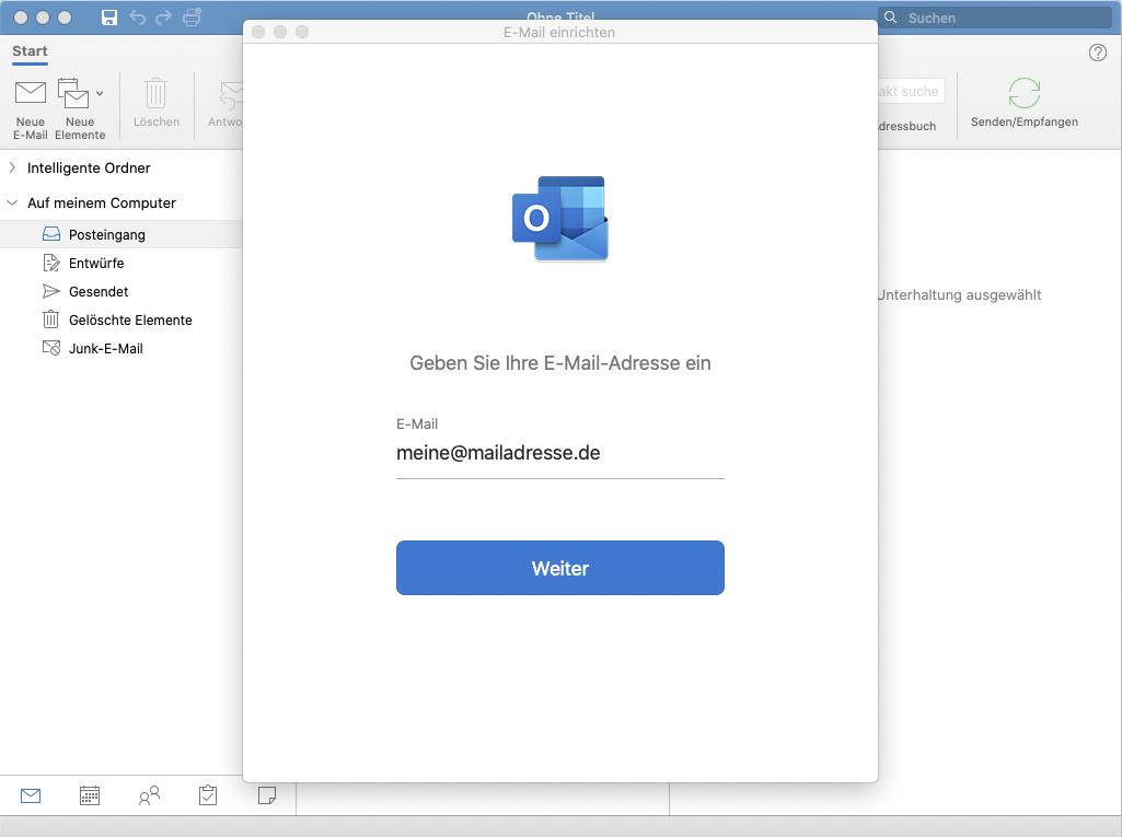 Outlook für Mac: 1. Schritt