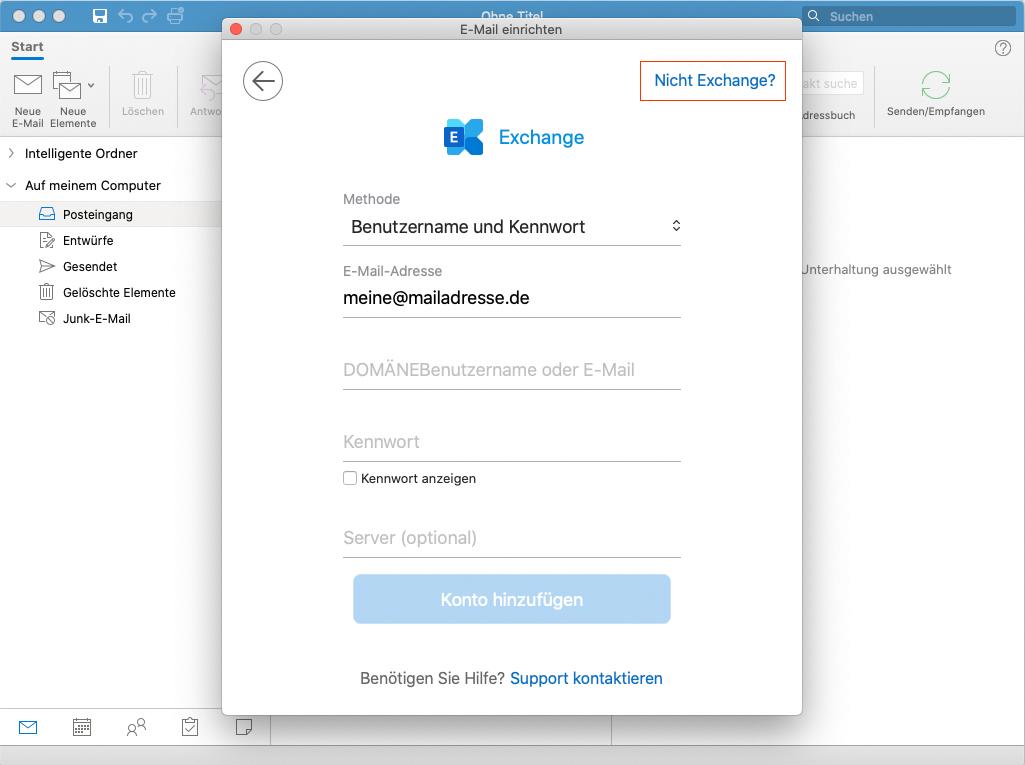 Outlook für Mac: 2. Schritt