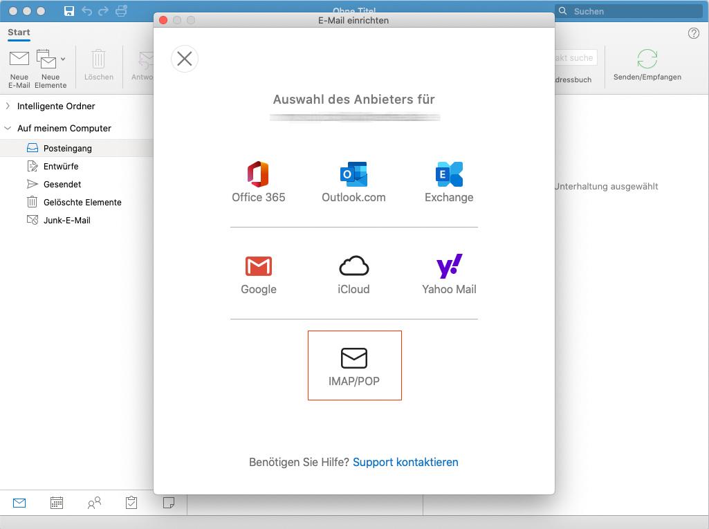 Outlook für Mac: 3. Schritt
