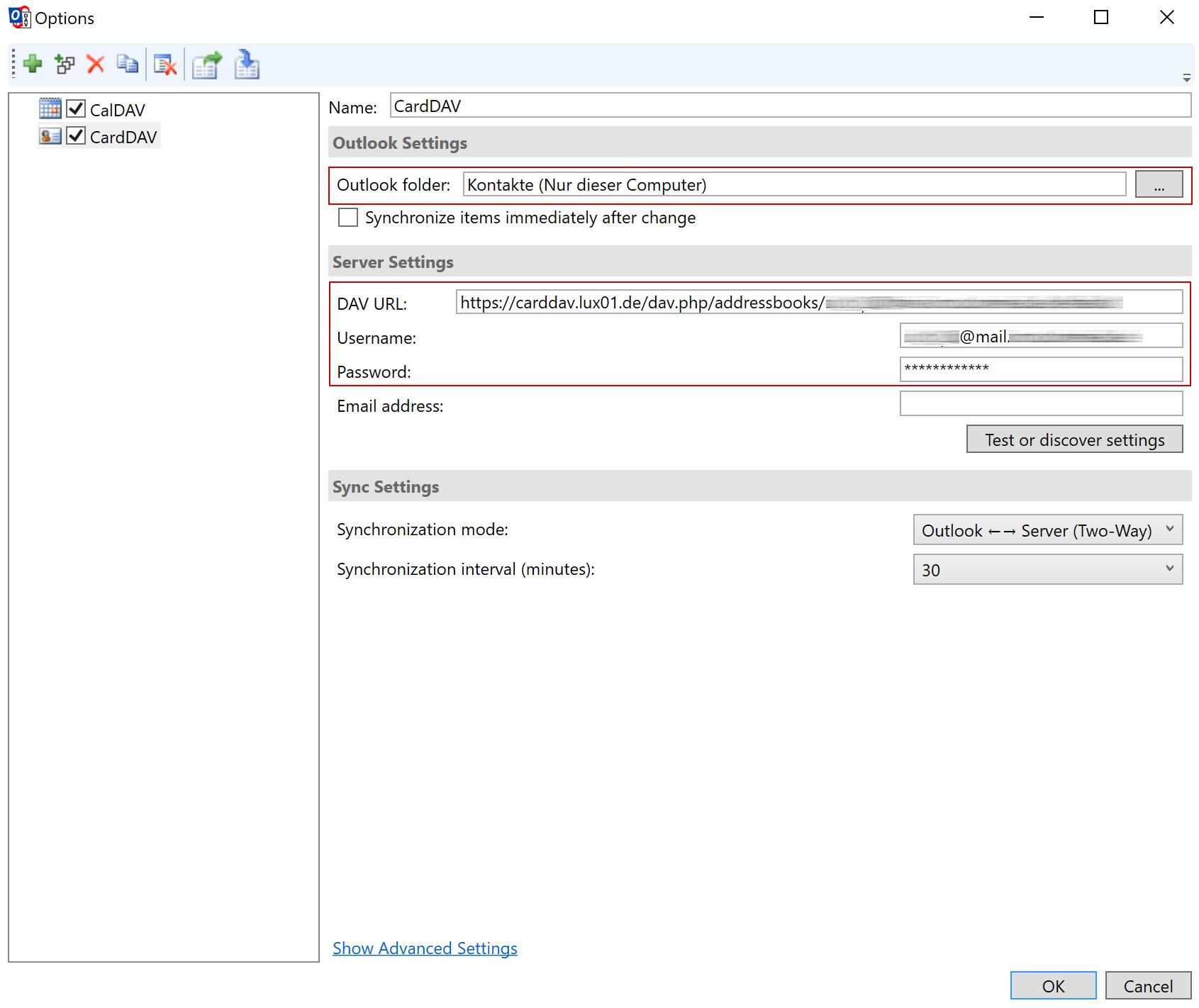 CardDAV via Outlook - 5