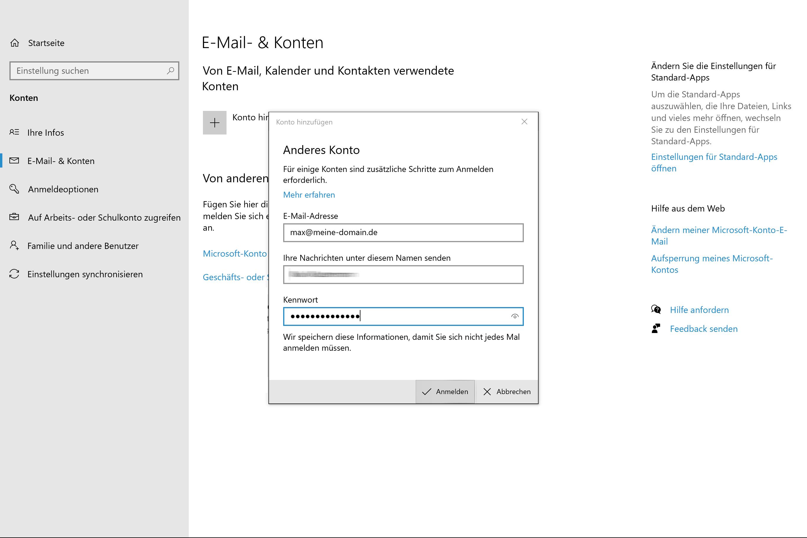 Windows Mail Einrichtung - 3