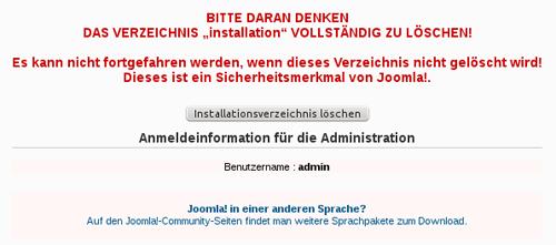 """Hinweis zum löschen des Verzeichnis """"installation"""""""