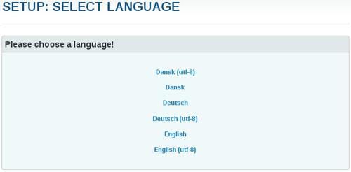 Sprache auswählen.