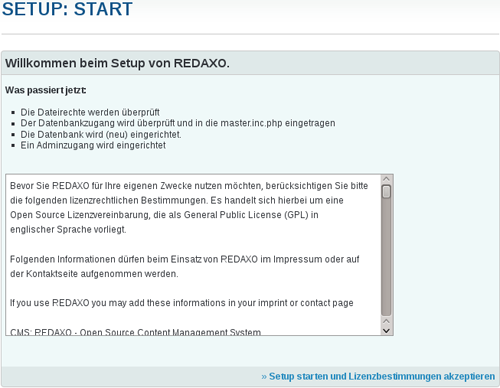 Lizenzbestimmung der Redaxi Installation
