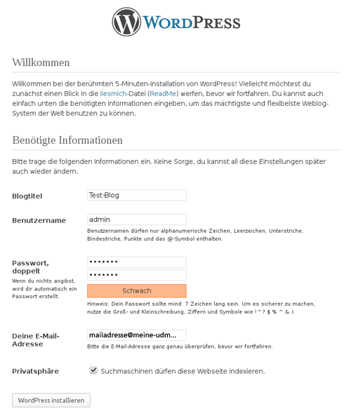 Willkommen bei WordPress: Richten Sie nun Ihren Blog ein.