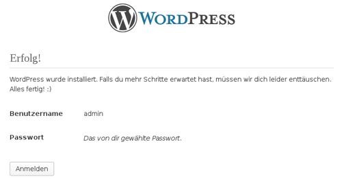 Die Wordpress Installation war erfolgreich.