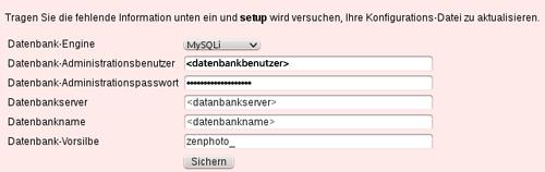 Eingabemaske für die Datenbank-Daten