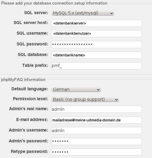 Eingabemaske für die Datenbank Zugangsdaten