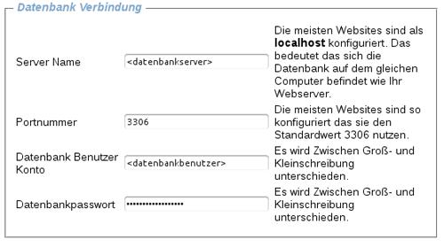 Eingabemaske für die Datenbank-Konfiguration