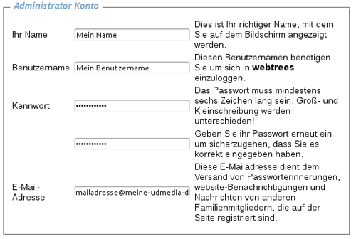 Eingabemaske für die Nutzerdaten