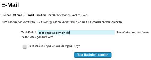 Testen der E-Mail Funktion