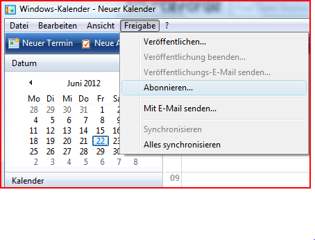 Windows-Kalender Synchronisation