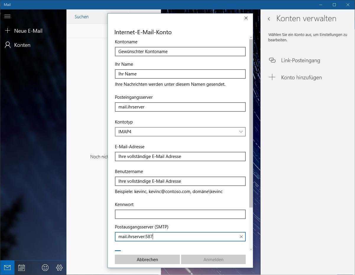 Webhosting-Hilfe: E-Mails mit Mail unter Windows 10 empfangen und ...