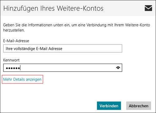 Windows 8 Mail - E-Mail-Einrichtung Schritt 5